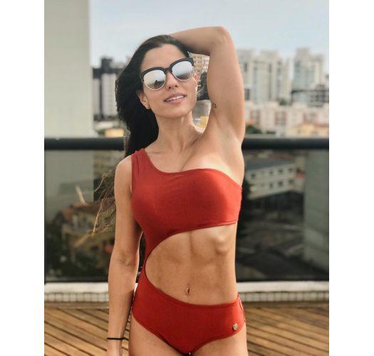 Red one-piece asymmetrical bathing suit - MAIO CINTURA