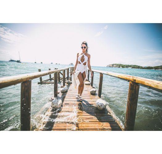 Weißer Monokini mit originellen Cut-Outs - BODY CURVES