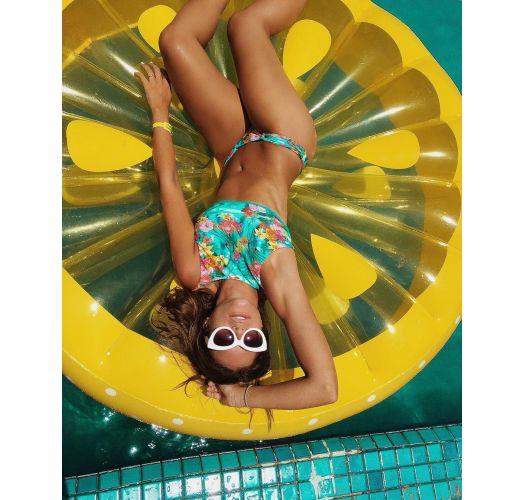 Pastel floral swimsuit tanga with pleated waistband - CALCINHA CANTO DA SEREIA