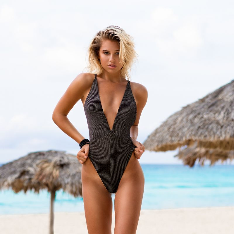 1-piece black swimsuit gold reversible low-plunge - HAVANA DEEP V REVERSIBLE