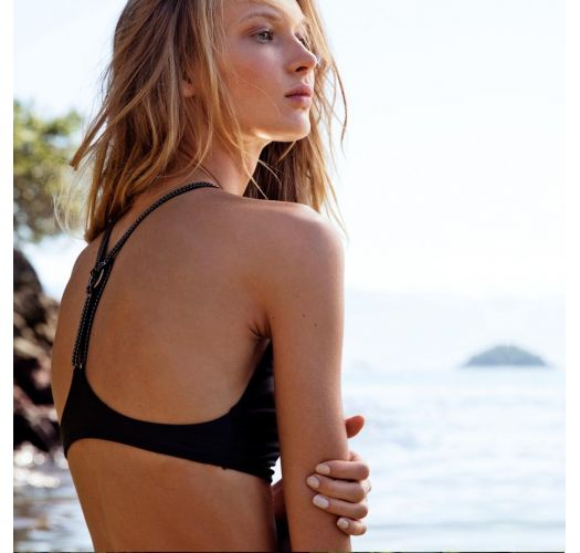 Avskjært bikinitopp luksus svart detaljer i lær - TOP PANTERA NEGRA
