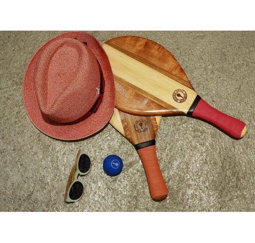 Frescobol paddles wood/orange neoprene - TRANCOSO BEACH BAT TERRACOTTA