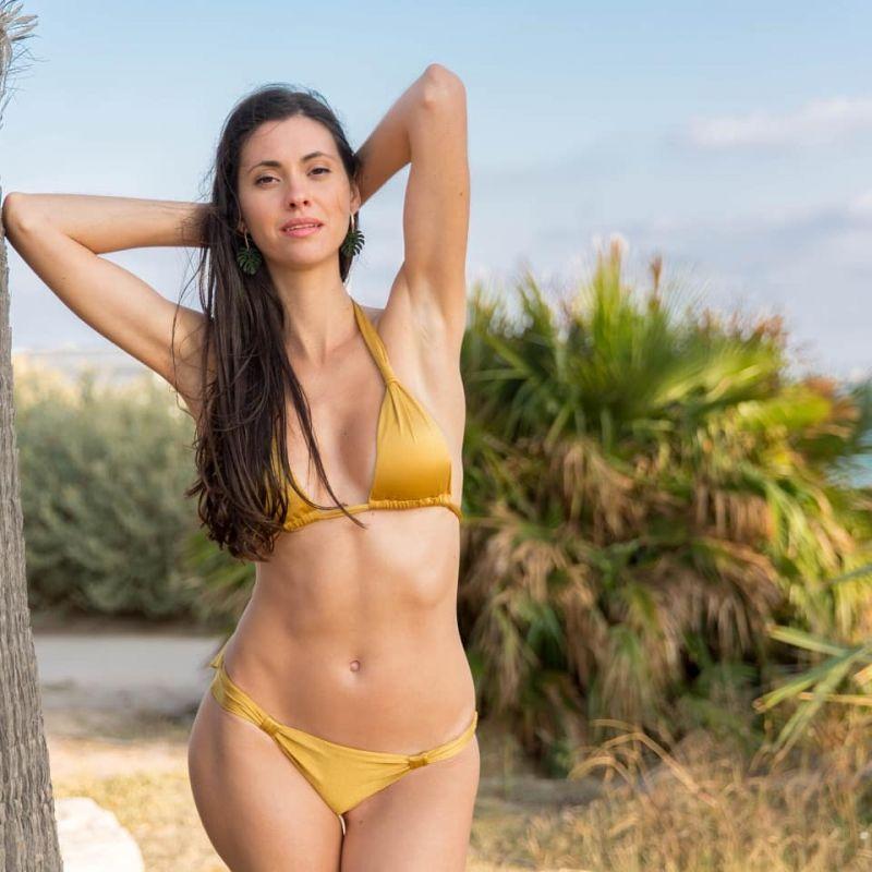 Sliding triangle scarf style gold bikini - GOLD CORTINAO