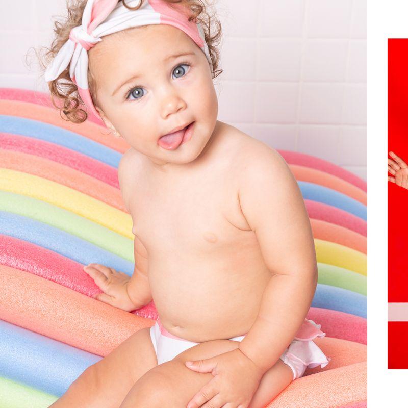 Maillot bébé fille rayures roses avec bandeau tête - BABY BABADO CLUB