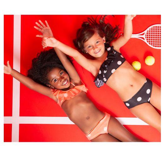 Детский раздельный купальник,украшенный воланами, с верхоми низом оранжевого цвета в горошек - OMBRO SУ POP