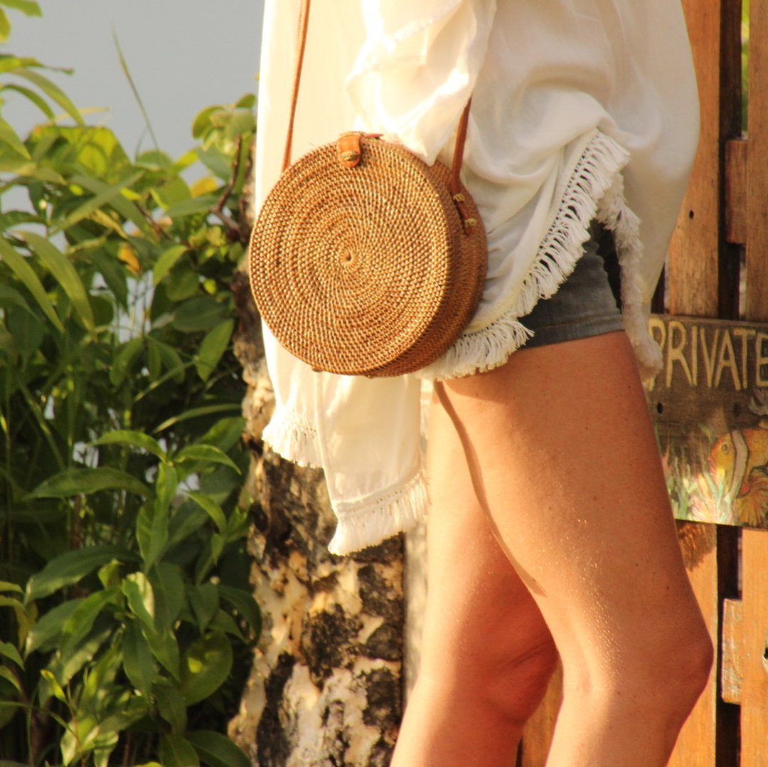 6e9dfbccc7ab8 Plaj çantaları Doğal Saman Yuvarlak Omuz çantası - Balibag L Natural