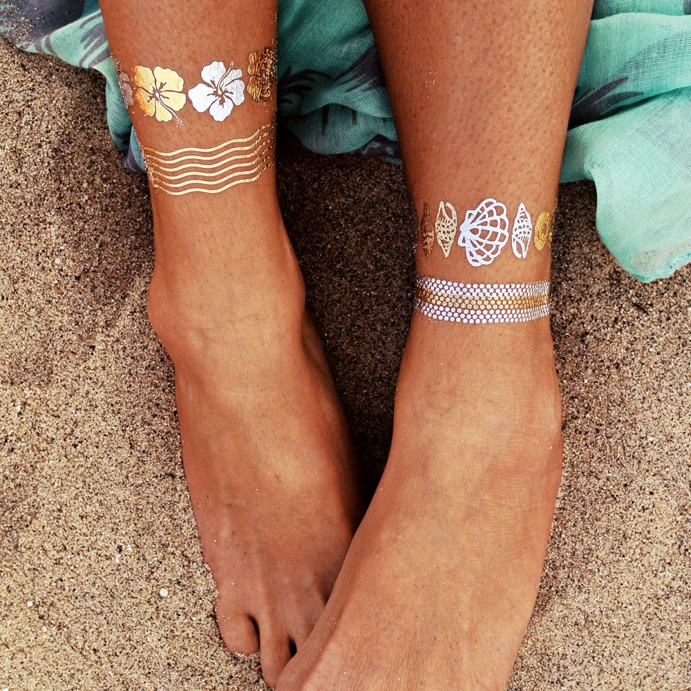 gold silver and black themed temporary tattoos