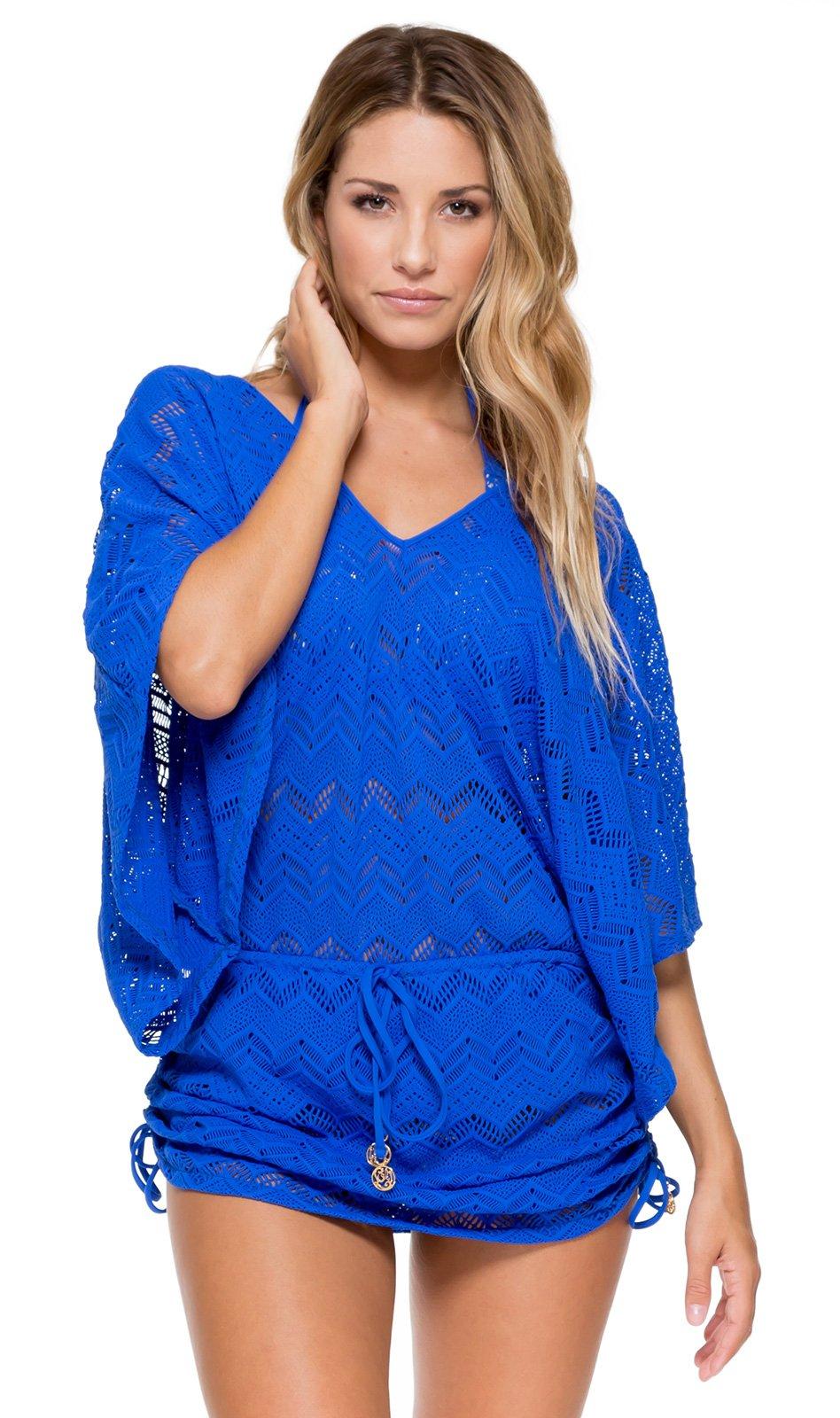 Blue Crochet Kaftan Style Beach Dress Cabana Princess