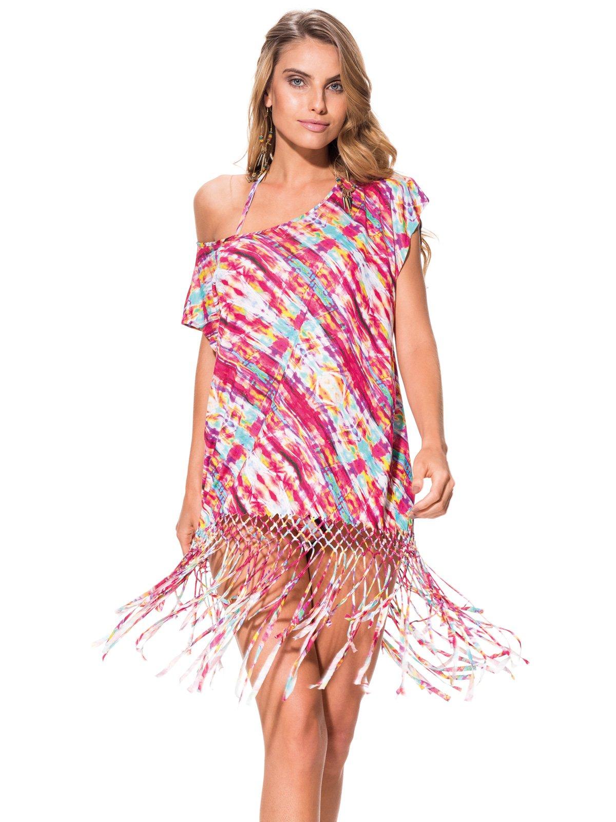 robe de plage avec franges imprim multicolore caftan tie dye color. Black Bedroom Furniture Sets. Home Design Ideas