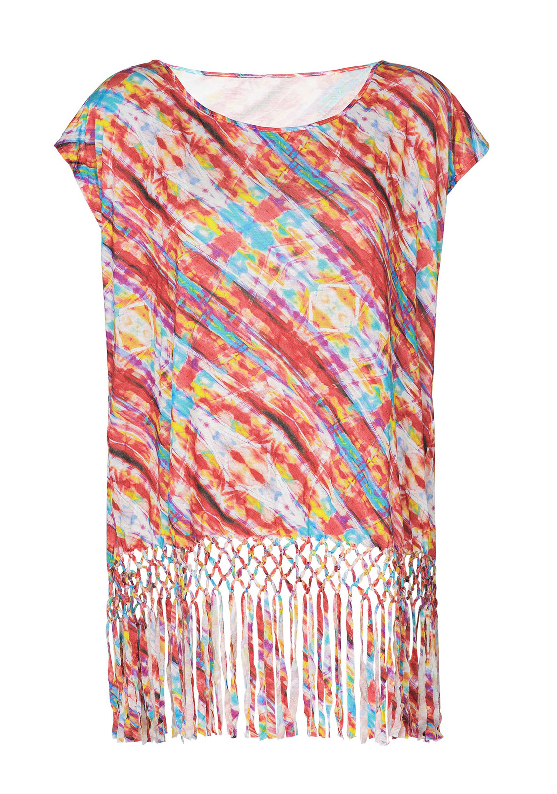707a61af5f5 Vestido de playa con flecos de estampado multicolor - CAFTAN TIE DYE COLOR  ...