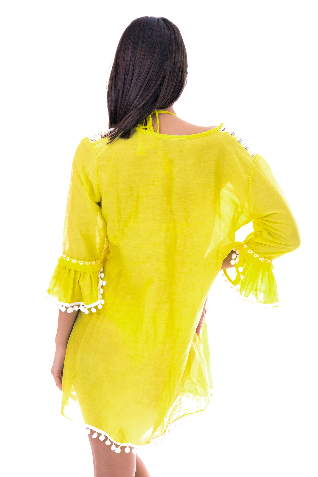 31b3bc3916a Yellow Beach Tunic With White Guipure - Hindi Tunic - Despi