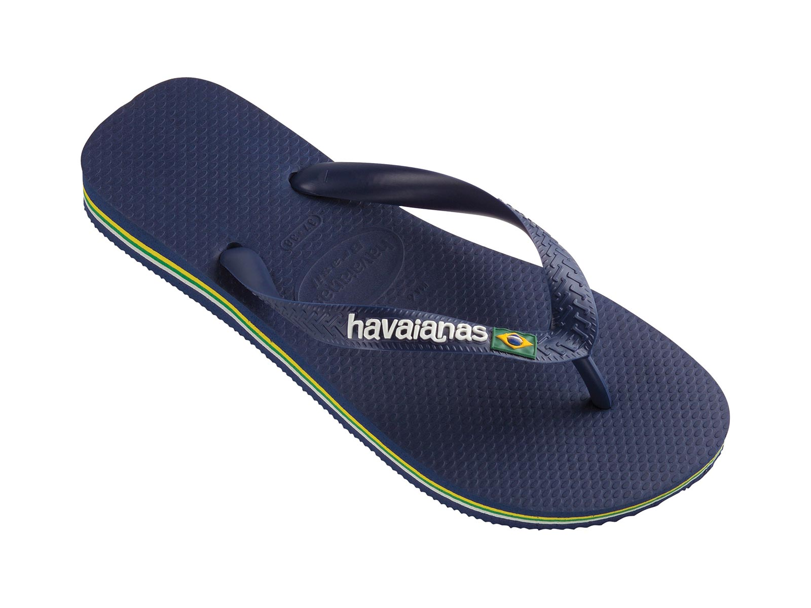 "HAVAIANAS /""BRASIL LOGO/"" FLIP FLOPS NAVY GREEN /& YELLOW  UK 4 EU 37"