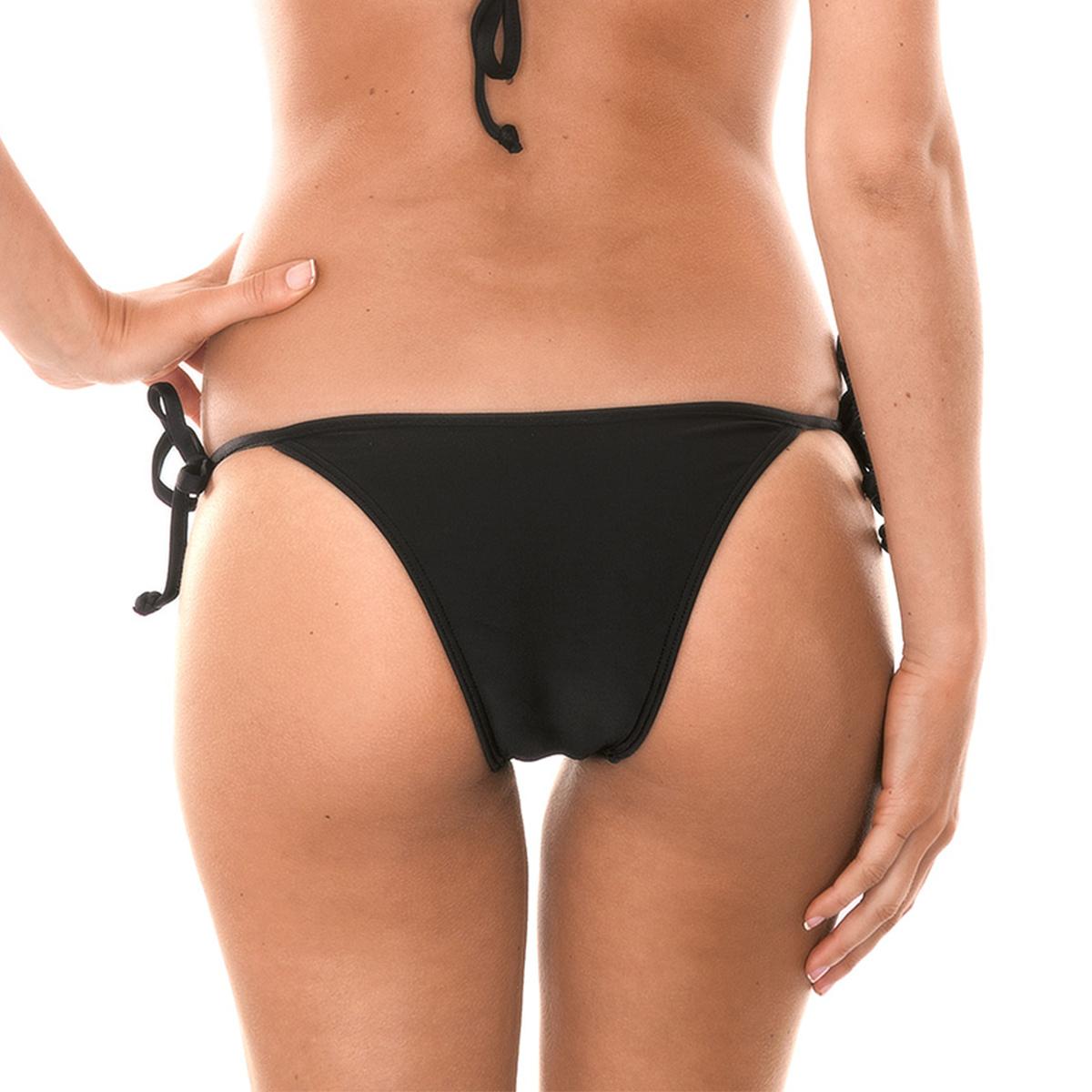 Black tie-side brazilian bikini bottom