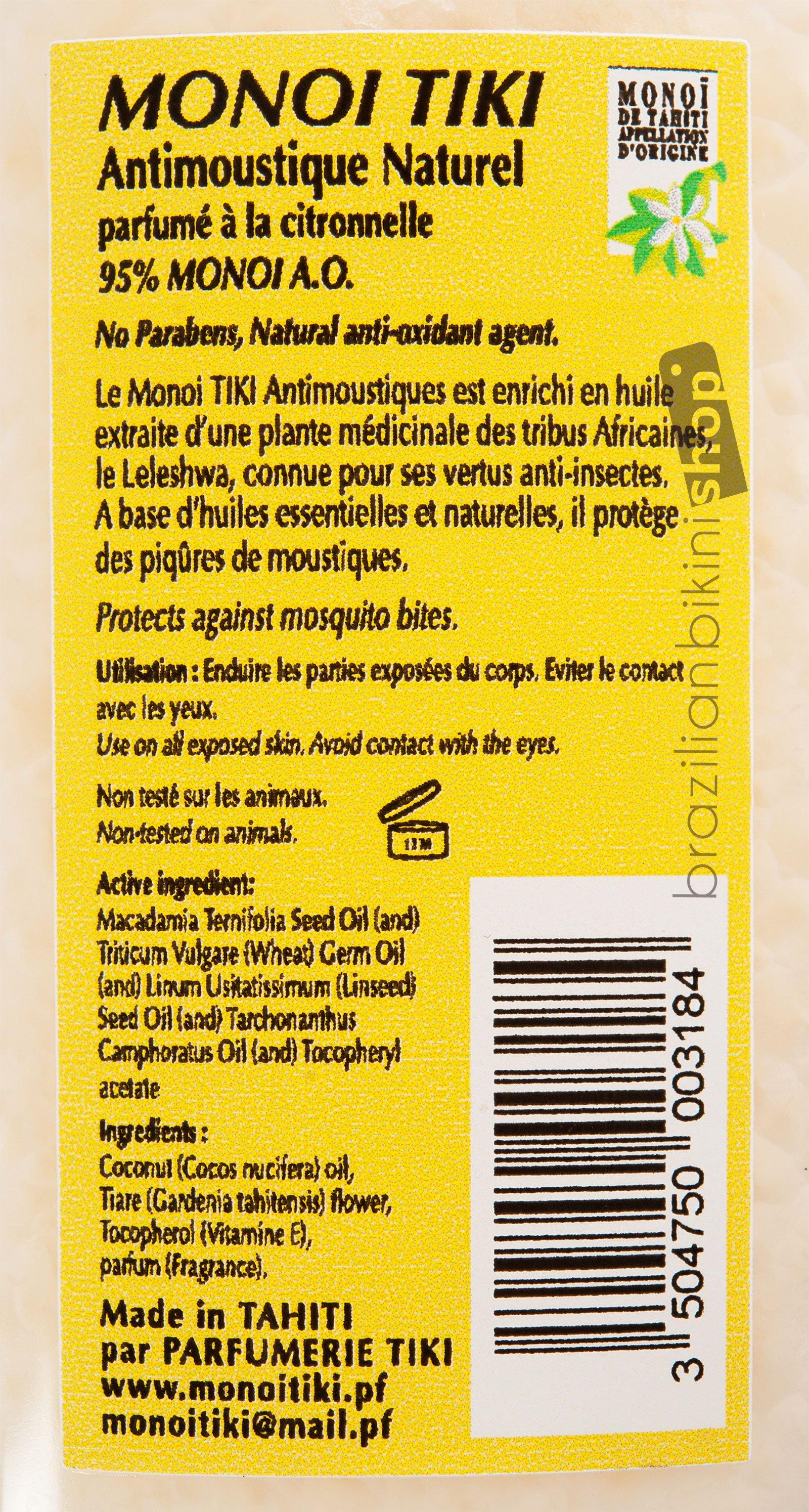 ... Monoï Parfum Citronnelle, Répulsif Anti Moustiques   Tiki Monoi  ANTIMOUSTIQUE 120 Ml