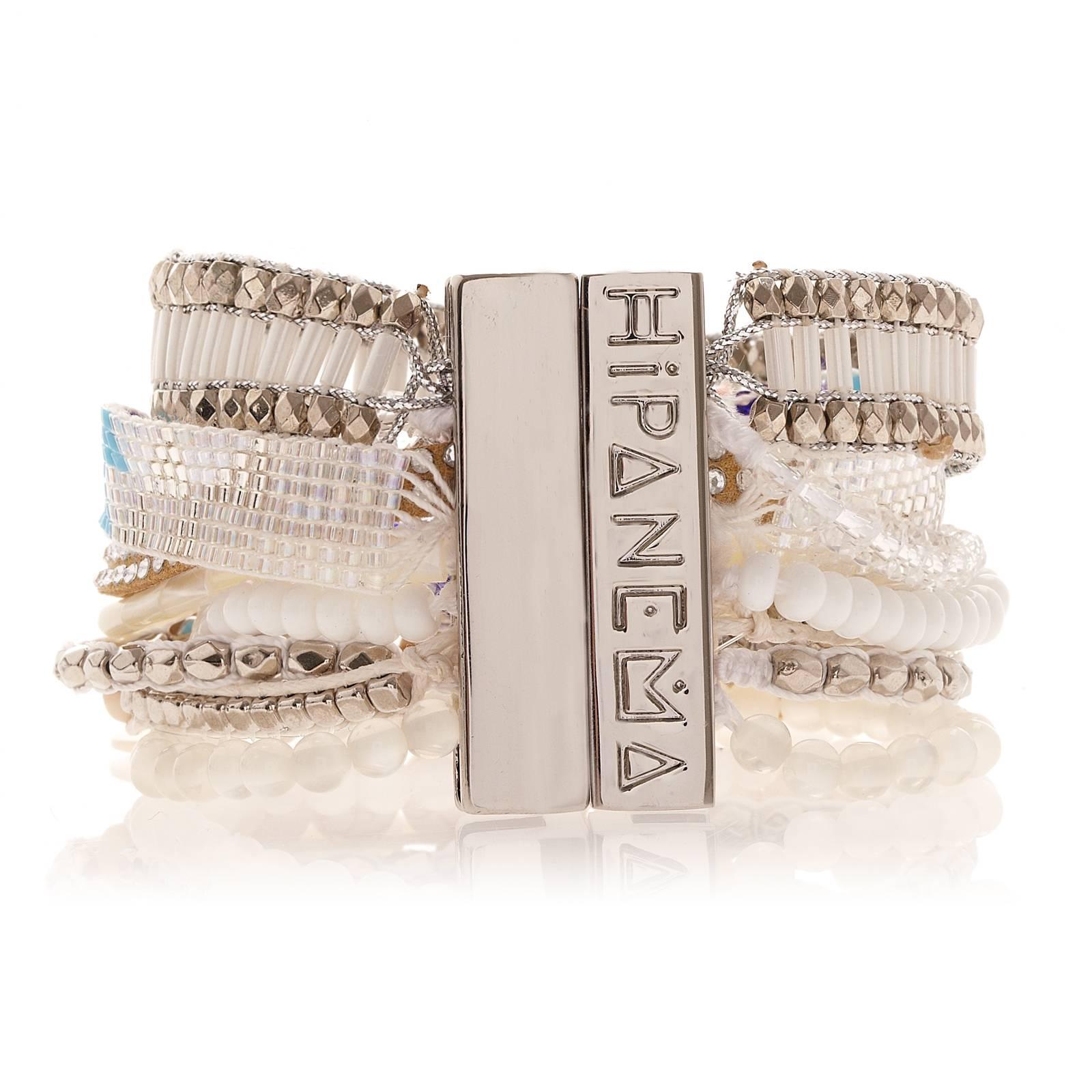 Large bracelet blanc aux multiples rangs de perles, fermoir aimanté argenté , HIPANEMA HONOLULU