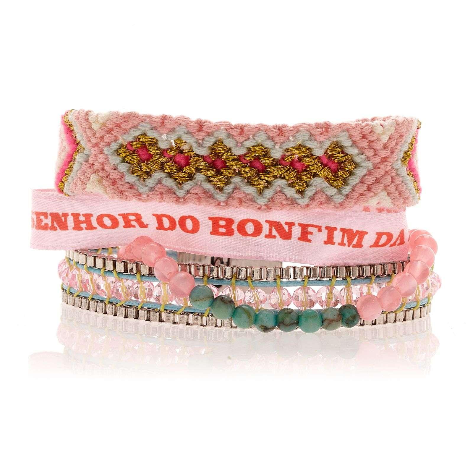 Petit bracelet rose clair en perles fils tress s et ruban br silien hipanema mauritius - Bracelet perle et ruban ...