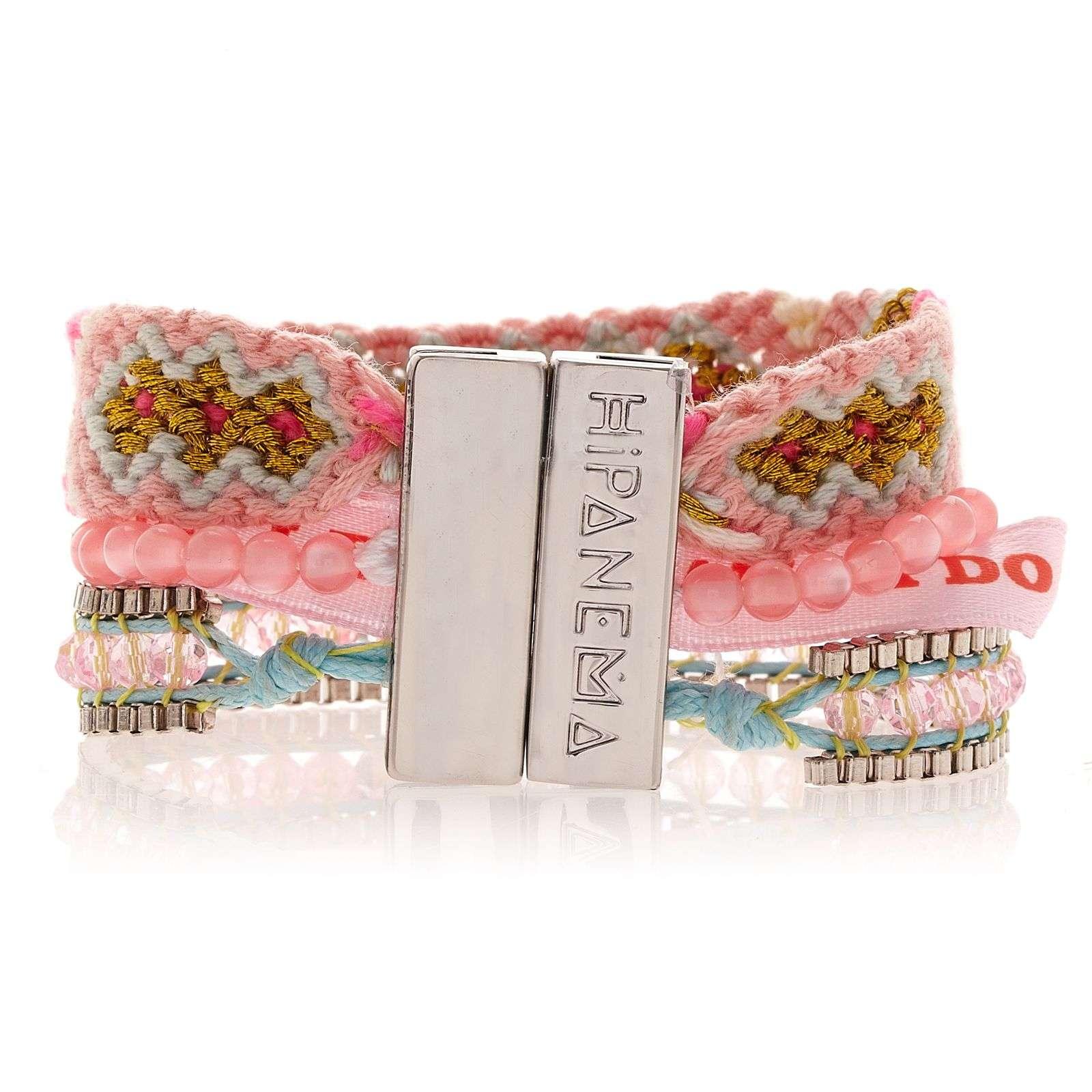 petit bracelet rose clair en perles fils tress s et ruban br silien hipanema mauritius. Black Bedroom Furniture Sets. Home Design Ideas