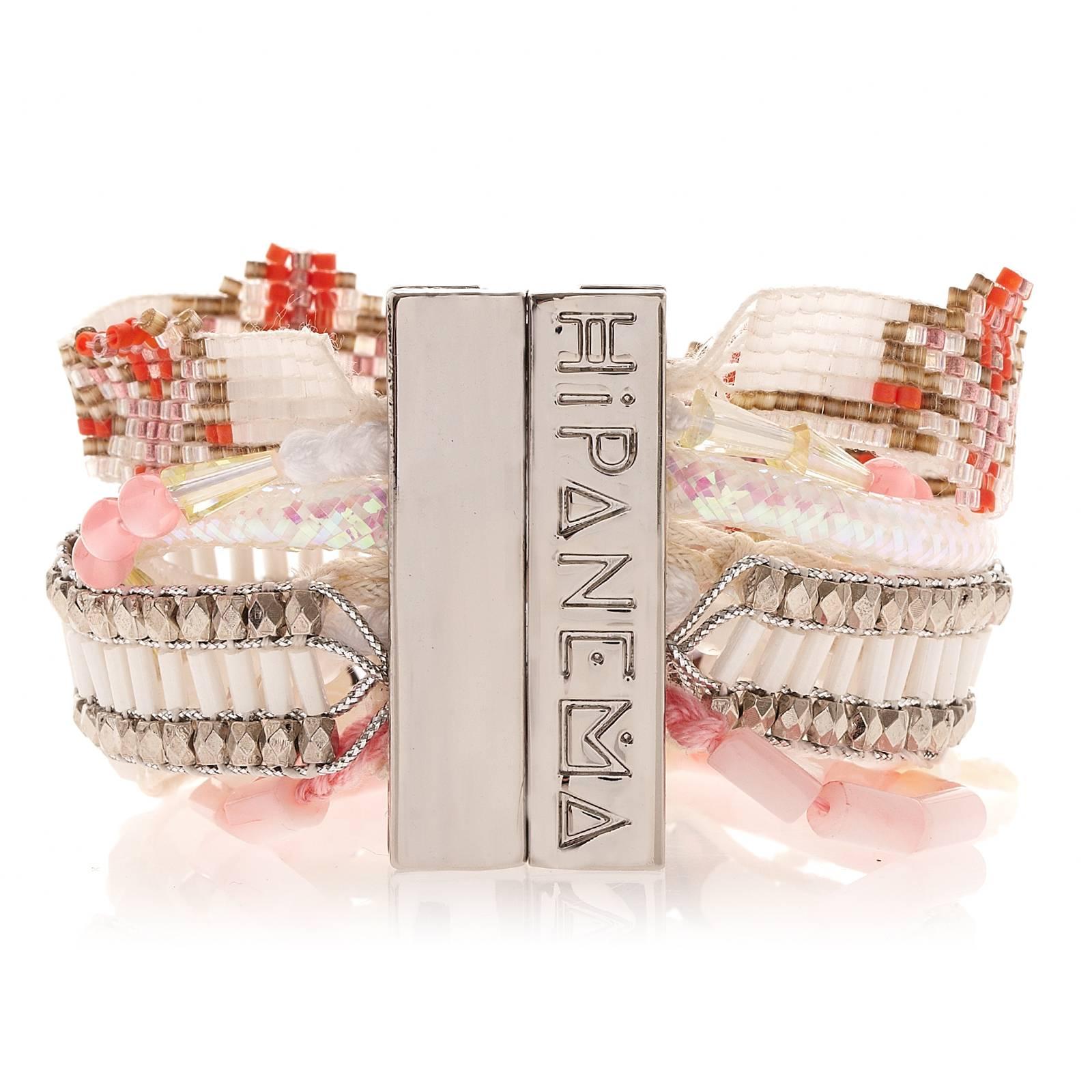large bracelet blanc et rose avec perles de tahiti fermoir argent hipanema moorea. Black Bedroom Furniture Sets. Home Design Ideas