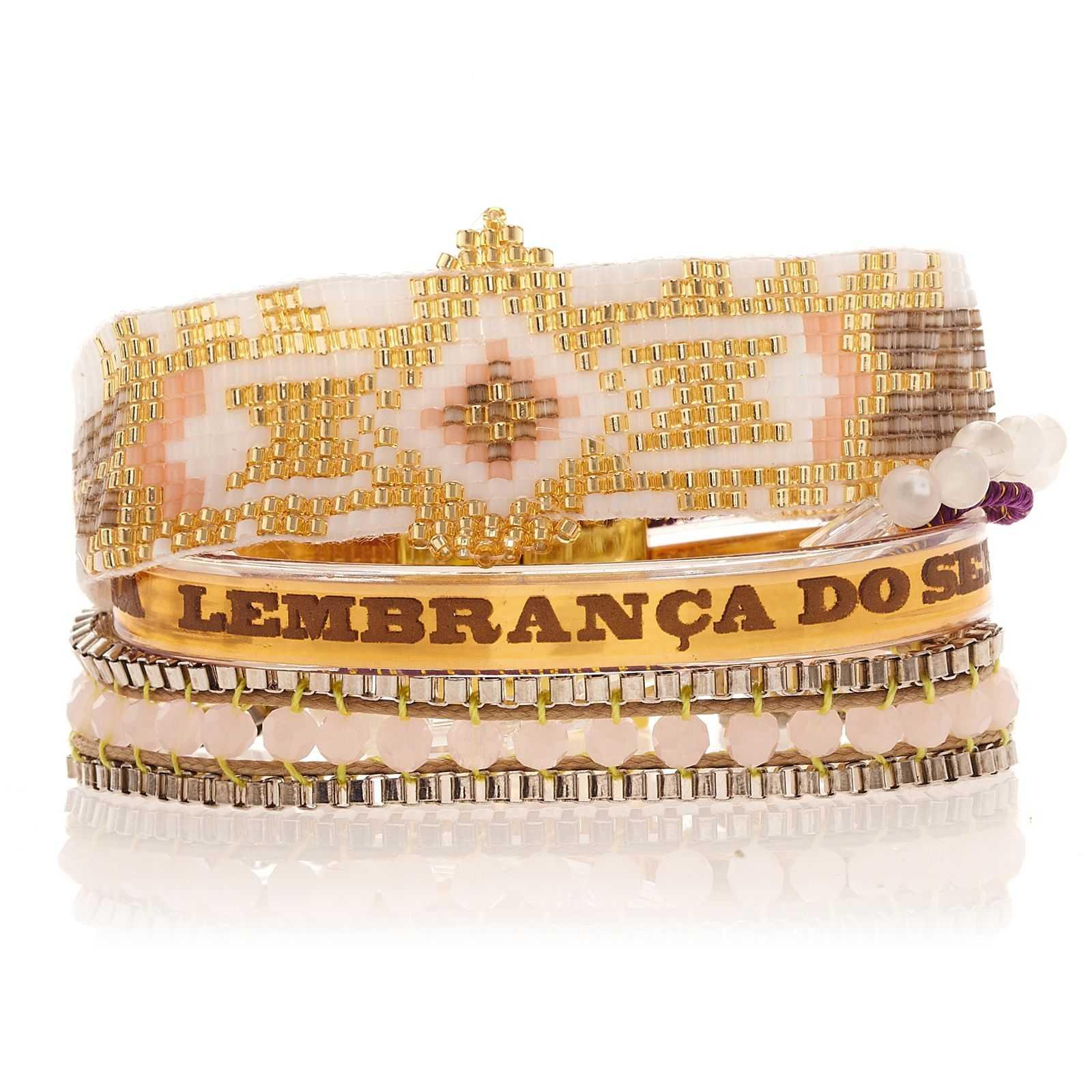 Petit bracelet blanc et doré, perles et ruban brésilien , HIPANEMA SEYCHELLES