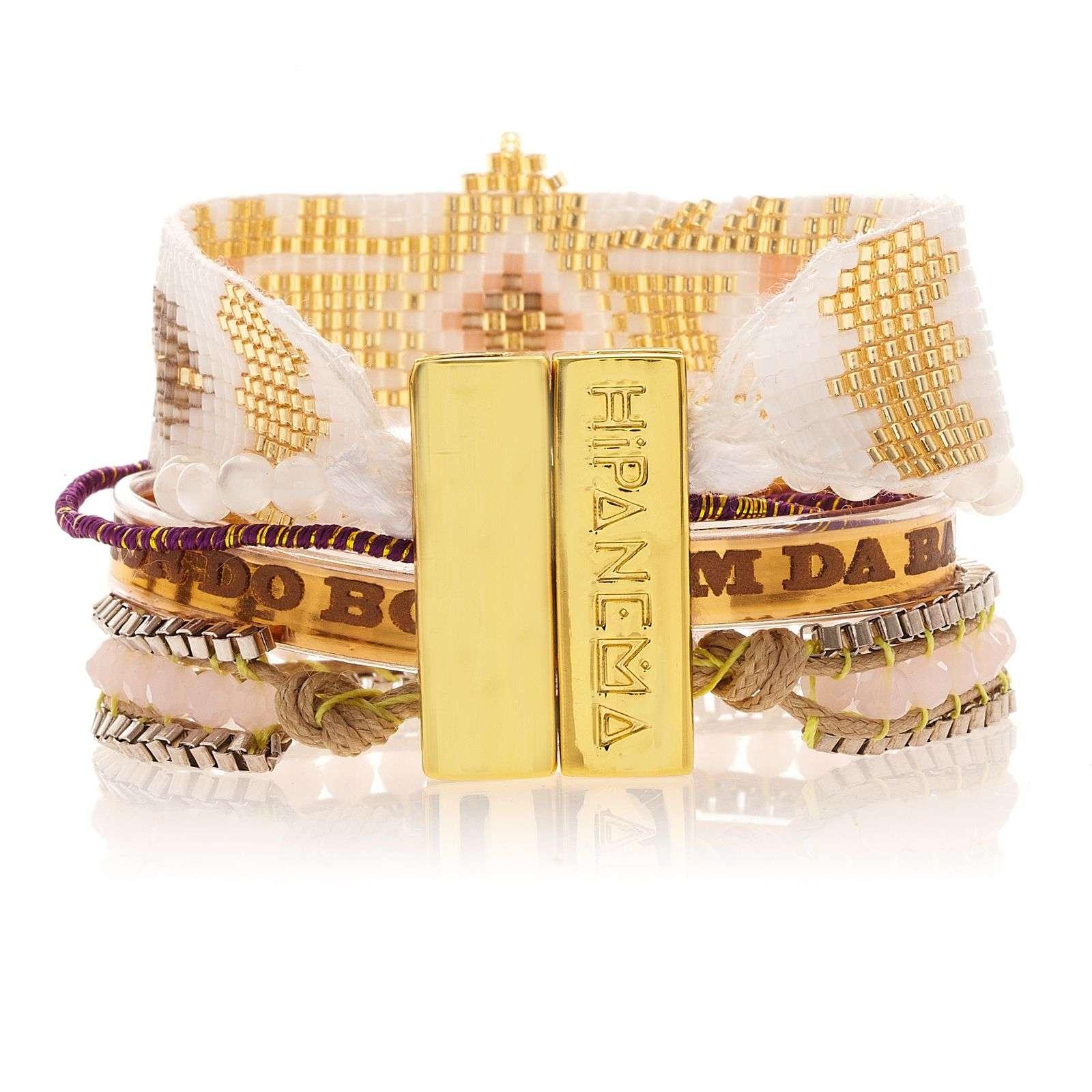 Petit bracelet blanc et dor perles et ruban br silien hipanema seychelles - Bracelet perle et ruban ...