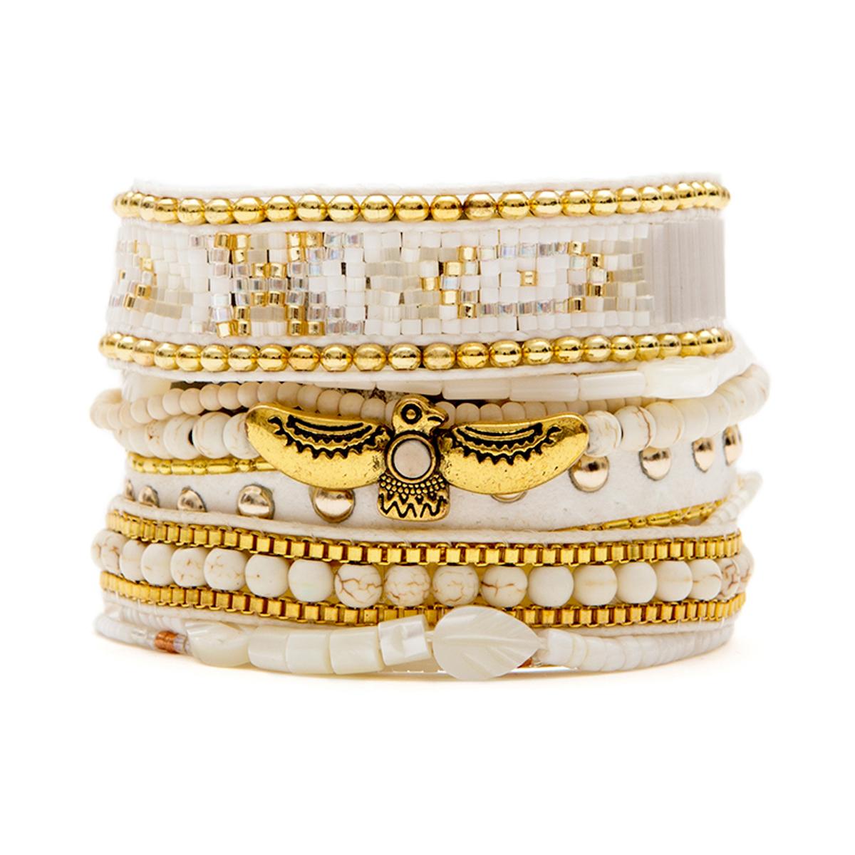 Bracelet blanc en perles, oiseau et fermoir dorés , HIPANEMA OLYMPE