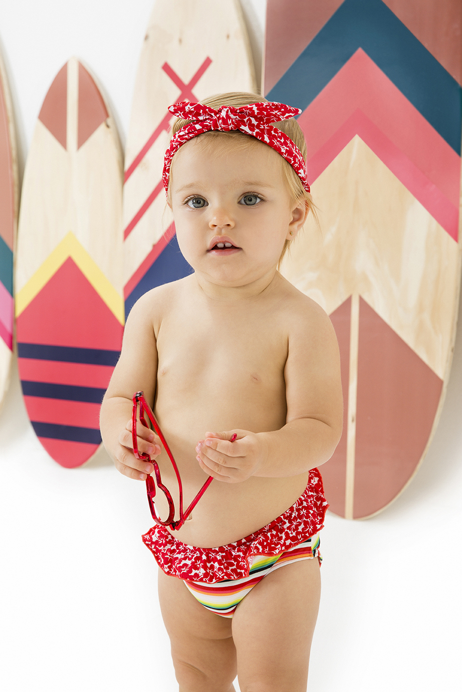 fa85bdbf9 Baby Girl s Swimsuit With A Mixture Of Prints - Baby Babado Holiday ...