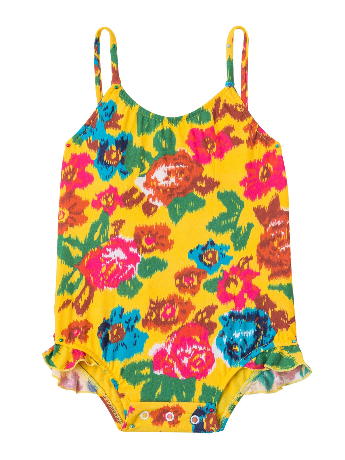 71045f253d4 Ολόσωμο βρεφικό μαγιό, κίτρινο με λουλούδια - Melody Baby - Salinas