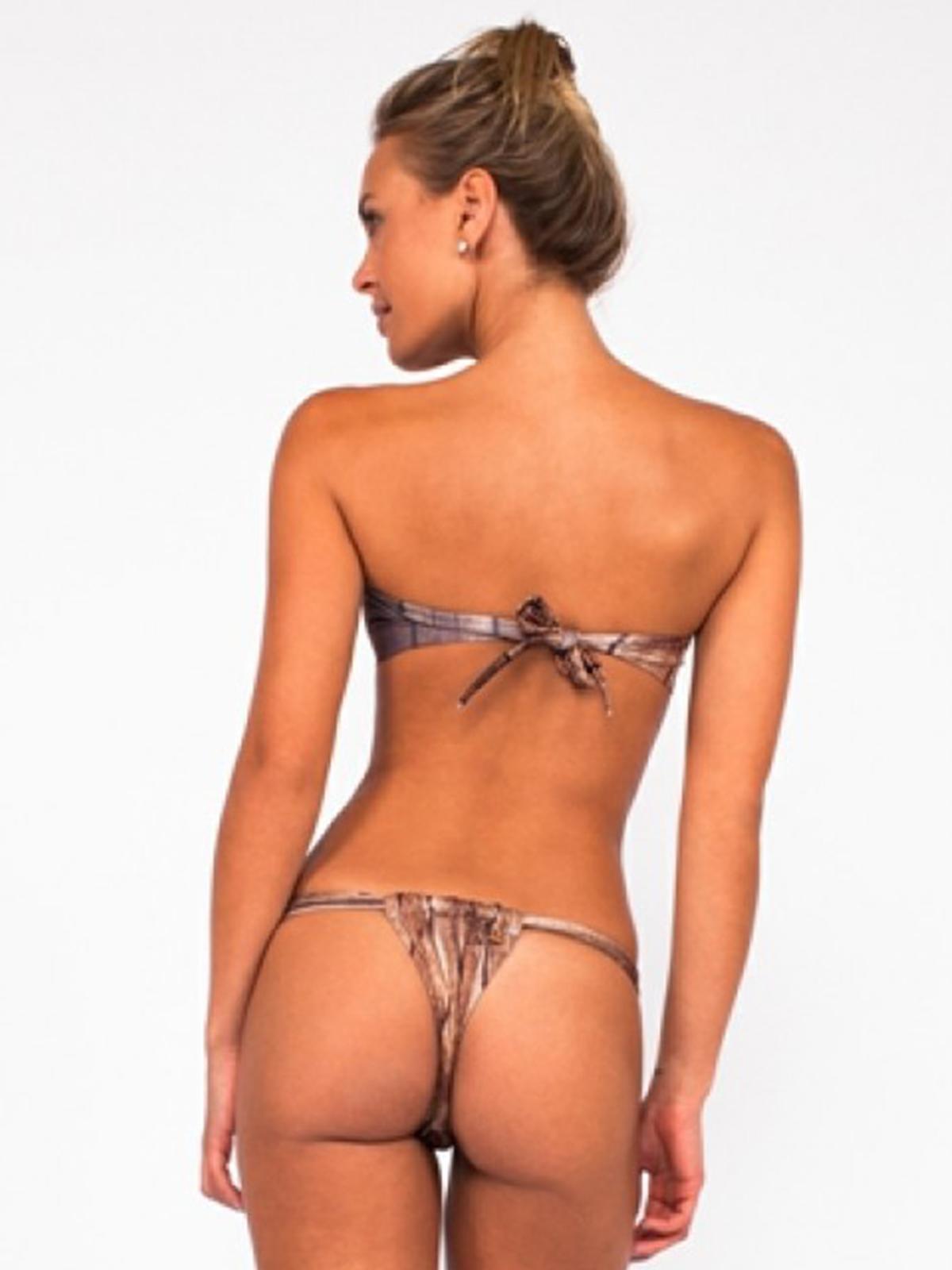 mikro bikini ... Brown printed bandeau micro-bikini - MADEIRA BROWN ...