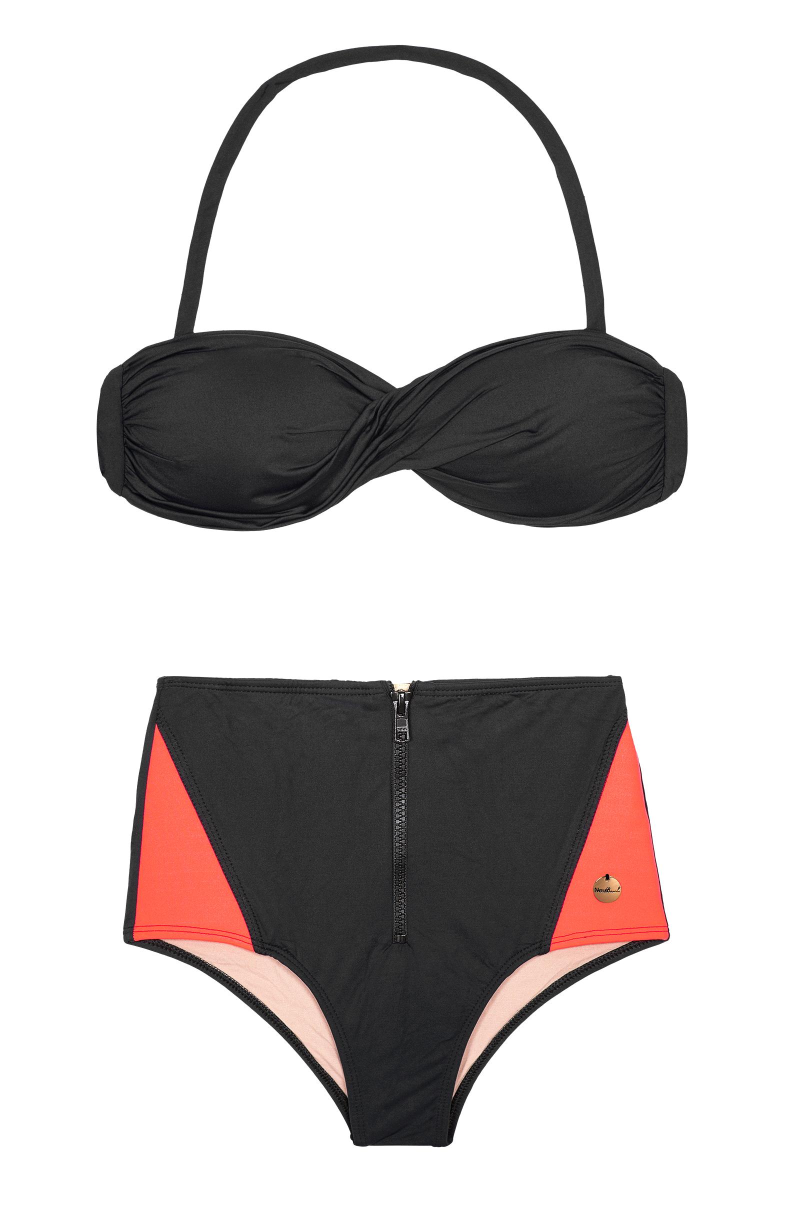 9735780cc4ee Bikini Bandeau Y Braguita Estilo Hot Pants En Tono Negro Y Coral  Fluorescente - Fit Ziper