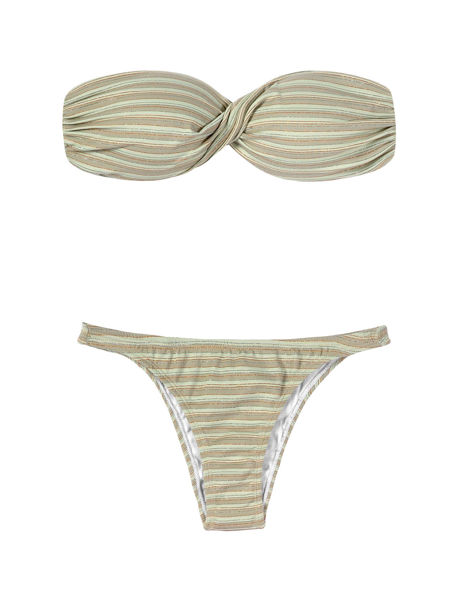 Bandeau-Bikini, gestreift mit Pailletten - ATENAS ...
