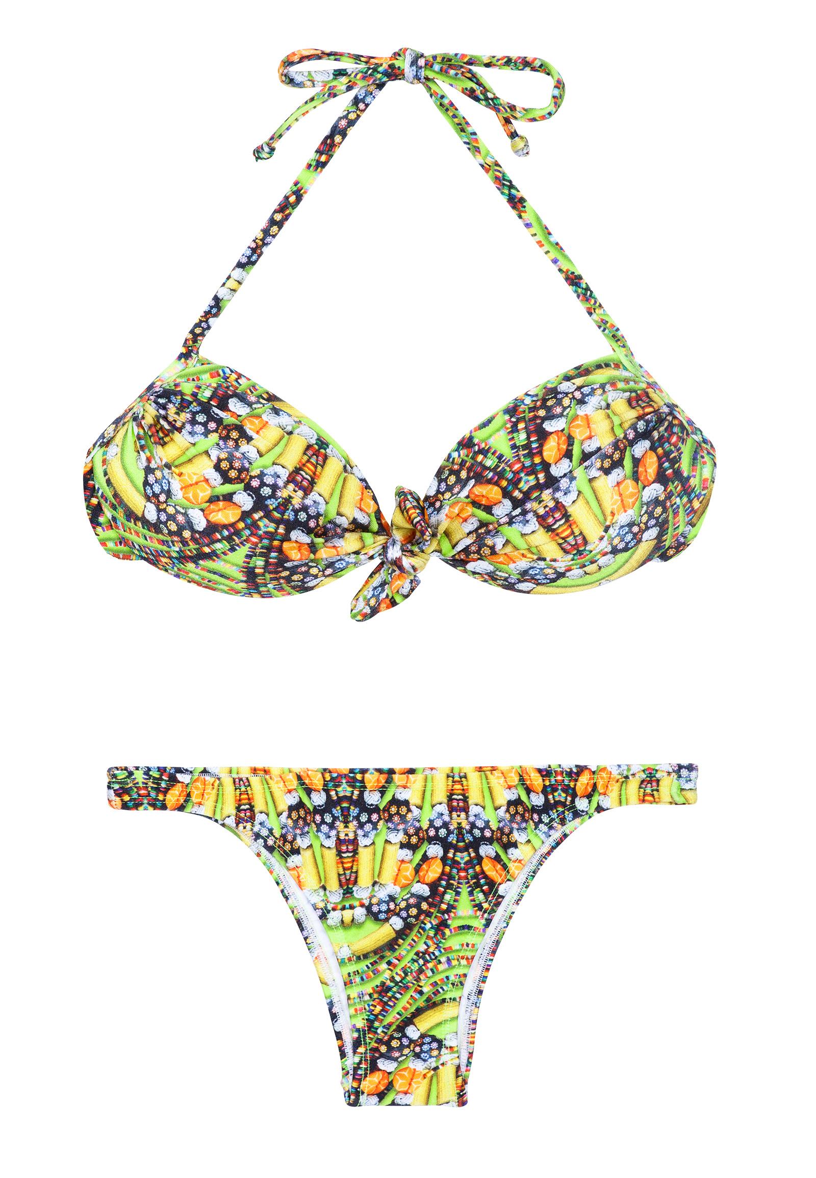 Bandeau-Bikini mit leuchtgelbem Muster - CORUJAS ...