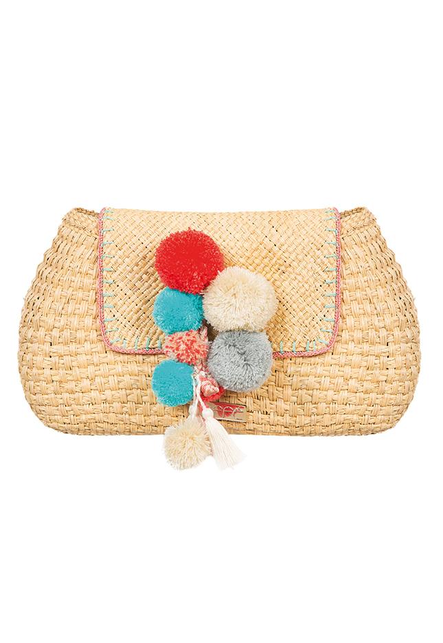 Caffe Hand-woven Clutch Bag With Coloured Pom-poms - Palaos