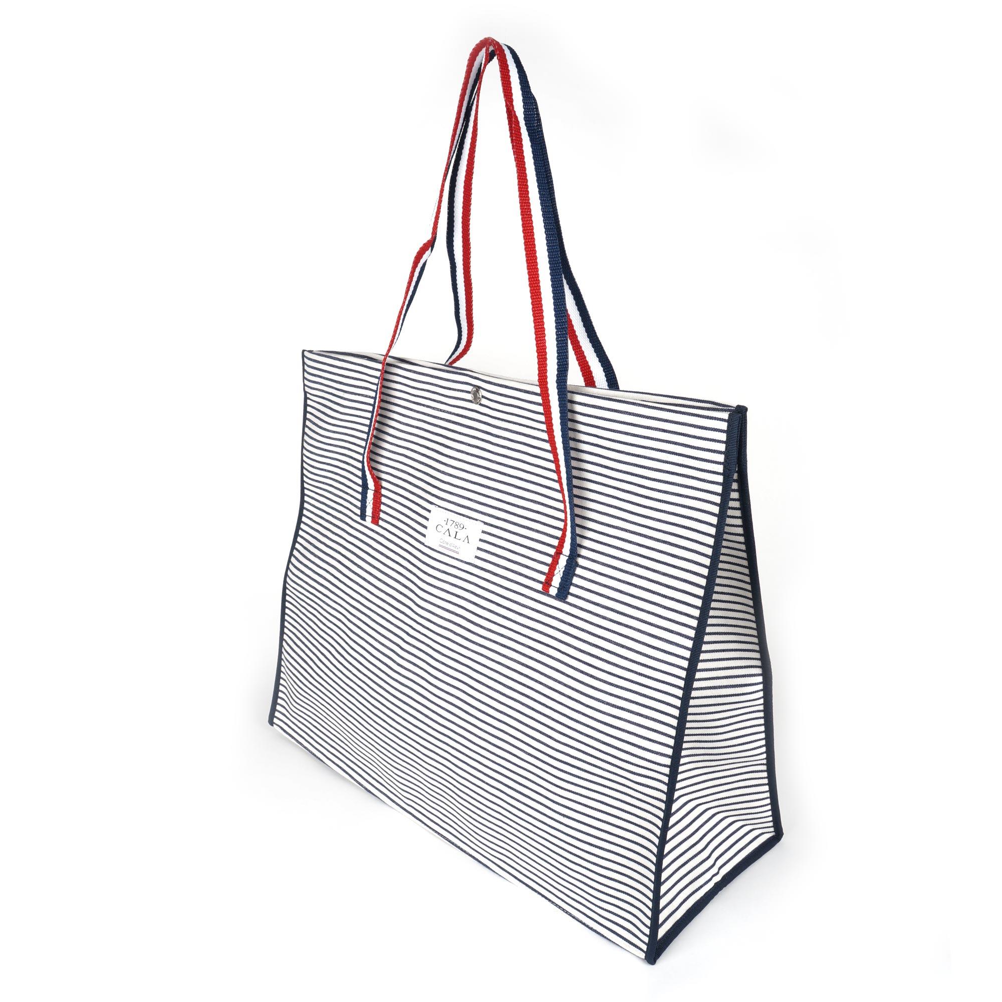sac cabas en toile coton ray e bleu marine cabas plage rayures marine. Black Bedroom Furniture Sets. Home Design Ideas