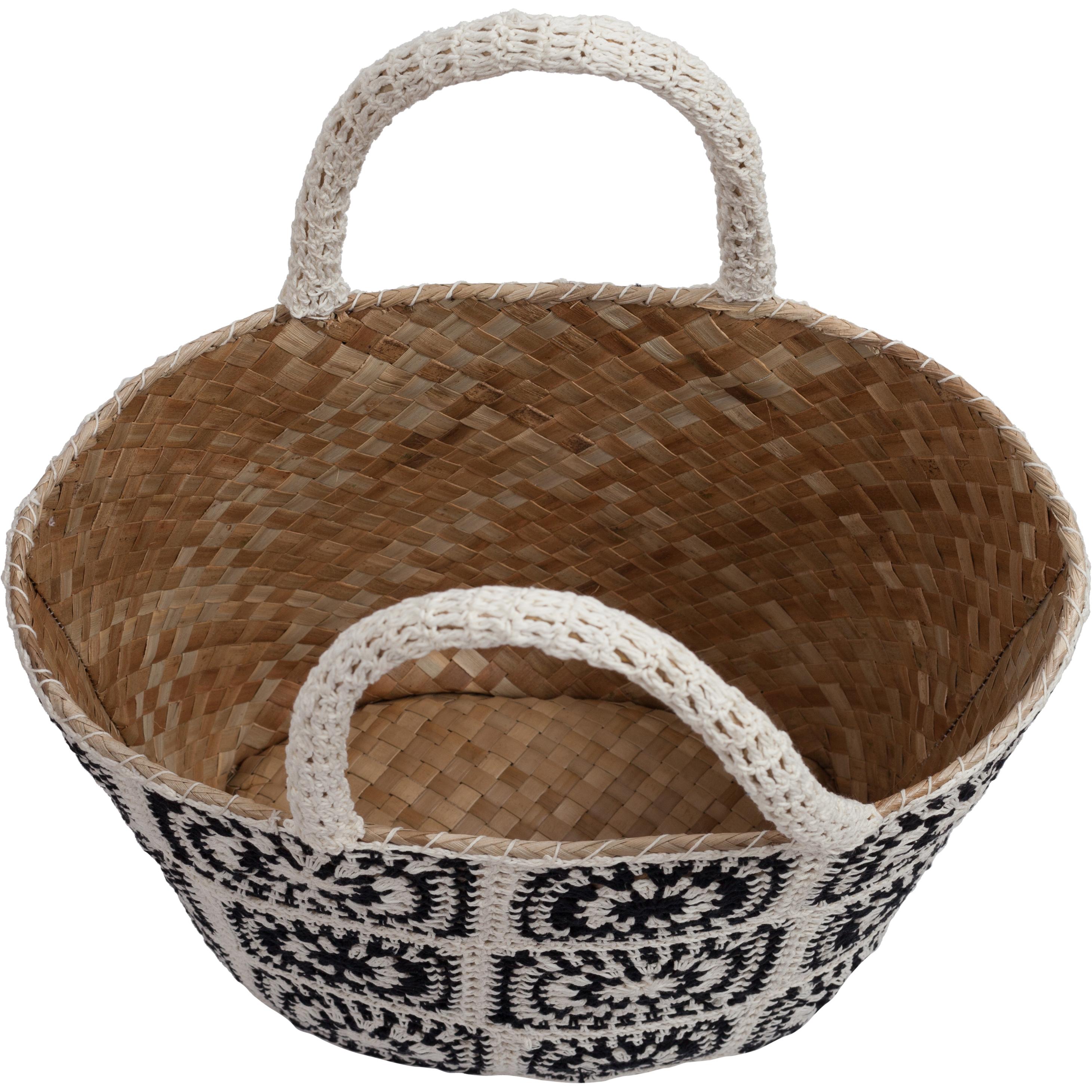 panier balinais en paille crochet noir blanc panier coachella black white. Black Bedroom Furniture Sets. Home Design Ideas