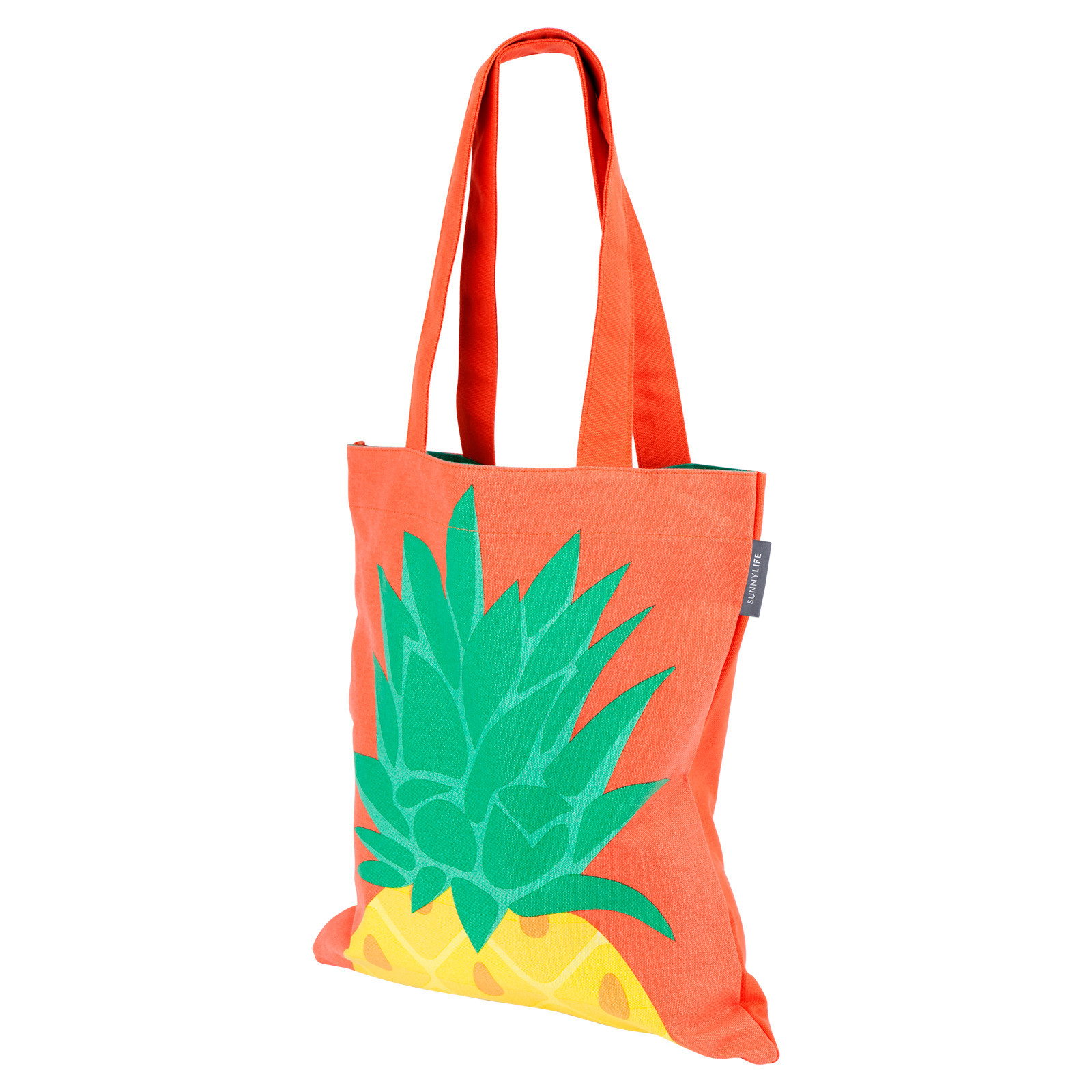 Bag Orange Cotton Tote Bag With Pineapple Print - Cool Pineapple f8b5c068a0a5c