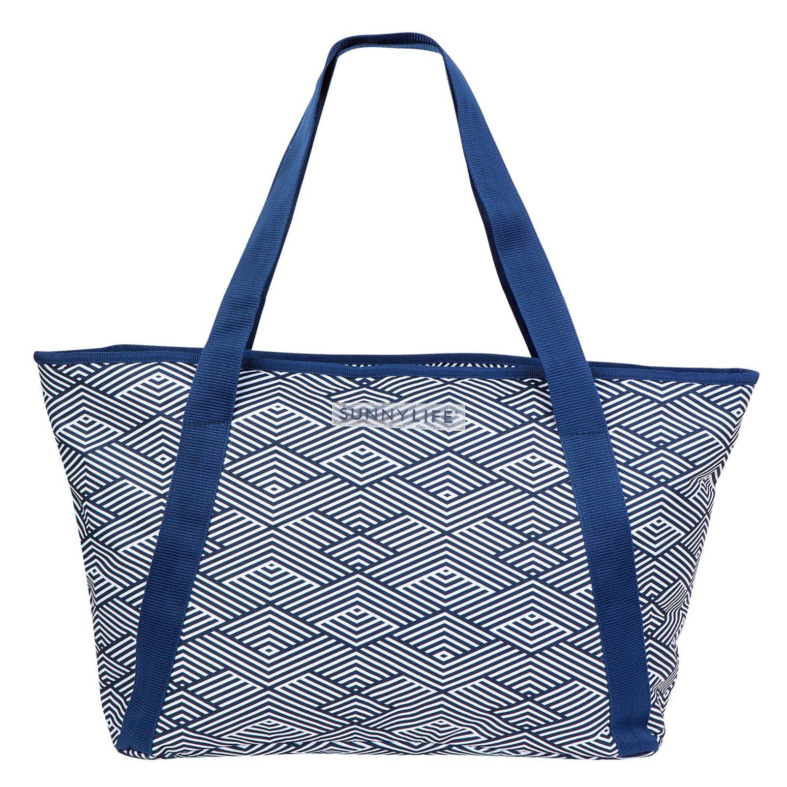 picnic navy blue printed beach cool bag cooler bag montauk. Black Bedroom Furniture Sets. Home Design Ideas