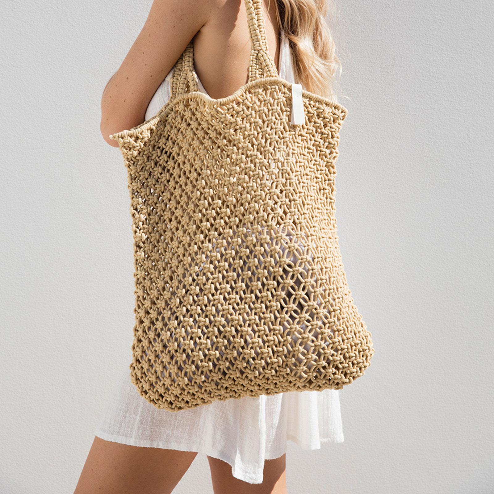 Natural Handmade Beige Macrame Shopping Bag Macrame Natural