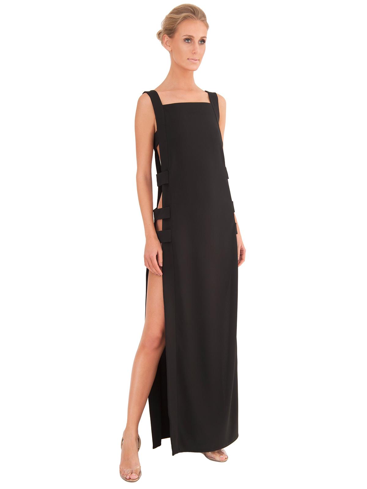 langes luxuri ses strandkleid farbe schwarz mit geschlitzten seiten less long. Black Bedroom Furniture Sets. Home Design Ideas