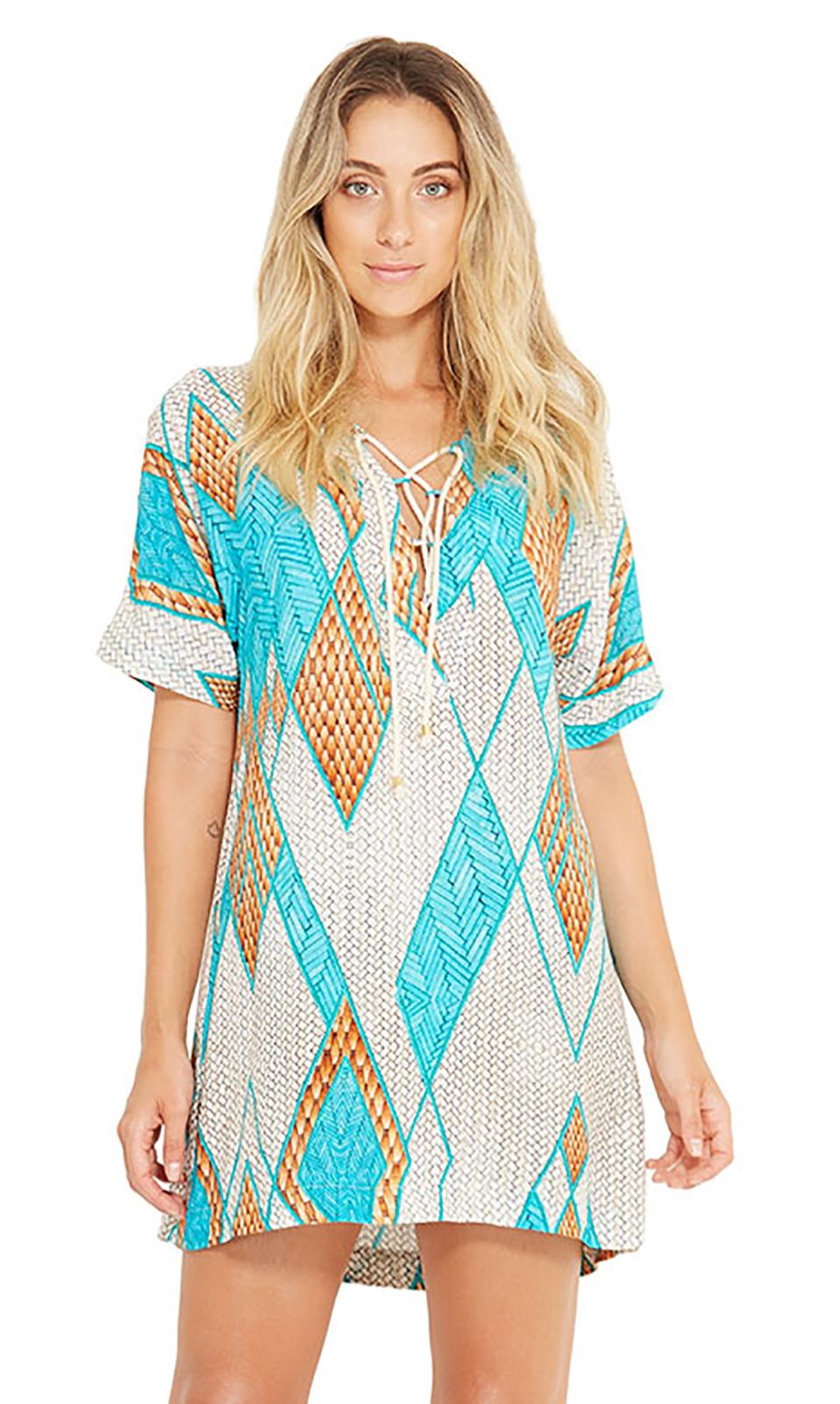 63cddc87a3 Geometric Print Beach Mini Dress With Sleeves - Agata Barlavento - Blueman