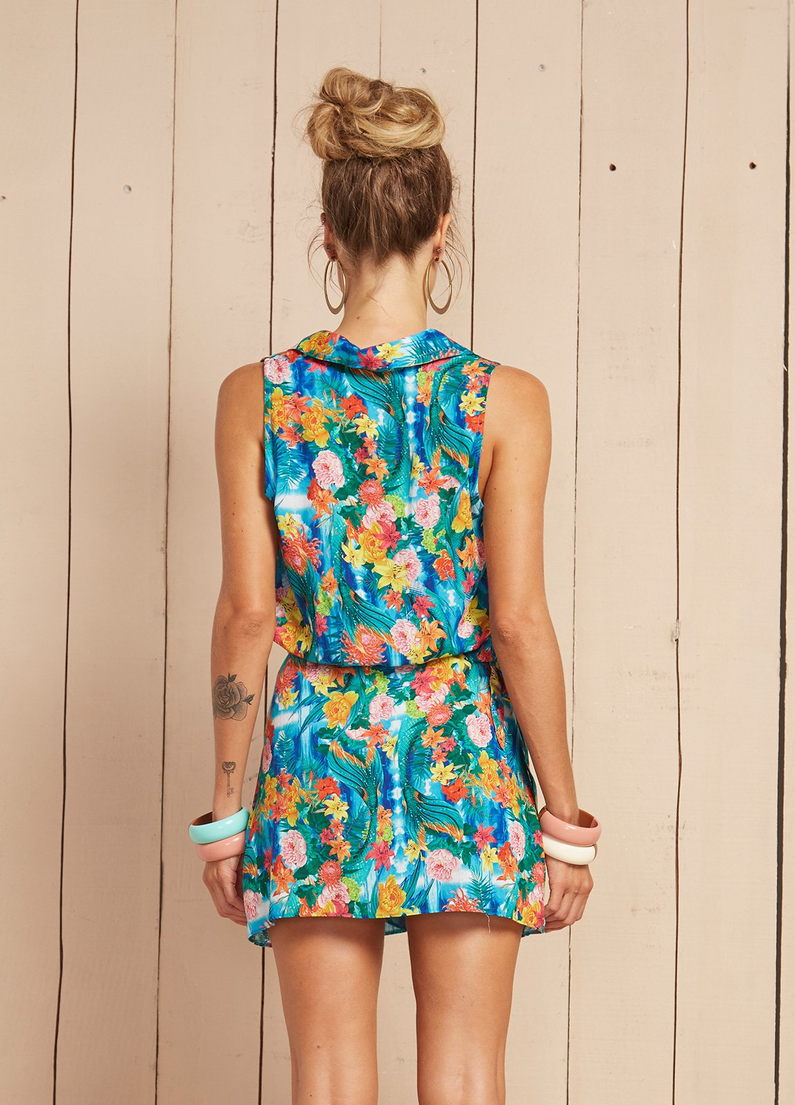 cf3cebeb9597 ... Short sleeveless floral beach dress - VESTIDO DORA ...