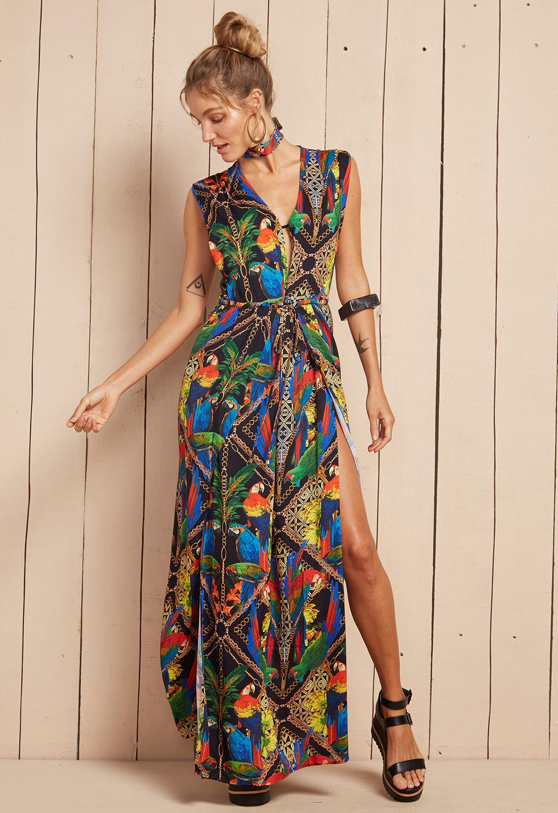 9e6ba06ce6 ... Long flowing tropical print beach dress - VESTIDO HALIA ...