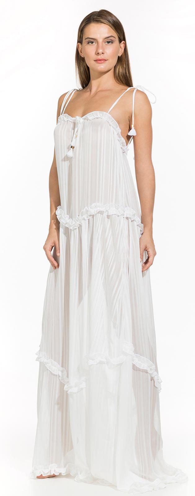 a34c648d7946 Φόρεμα Μακρύ λευκό μπόχο φόρεμα παραλίας - Cloe Off White
