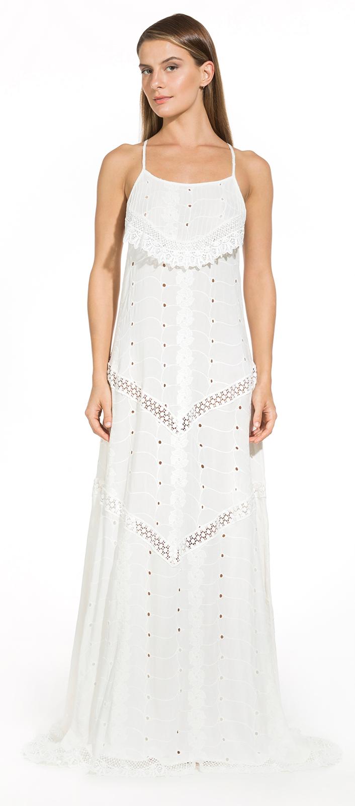 b829a2e52998 Lång Vit Strandklänning Med Virkade Detaljer - Paloma Off White - Dalai