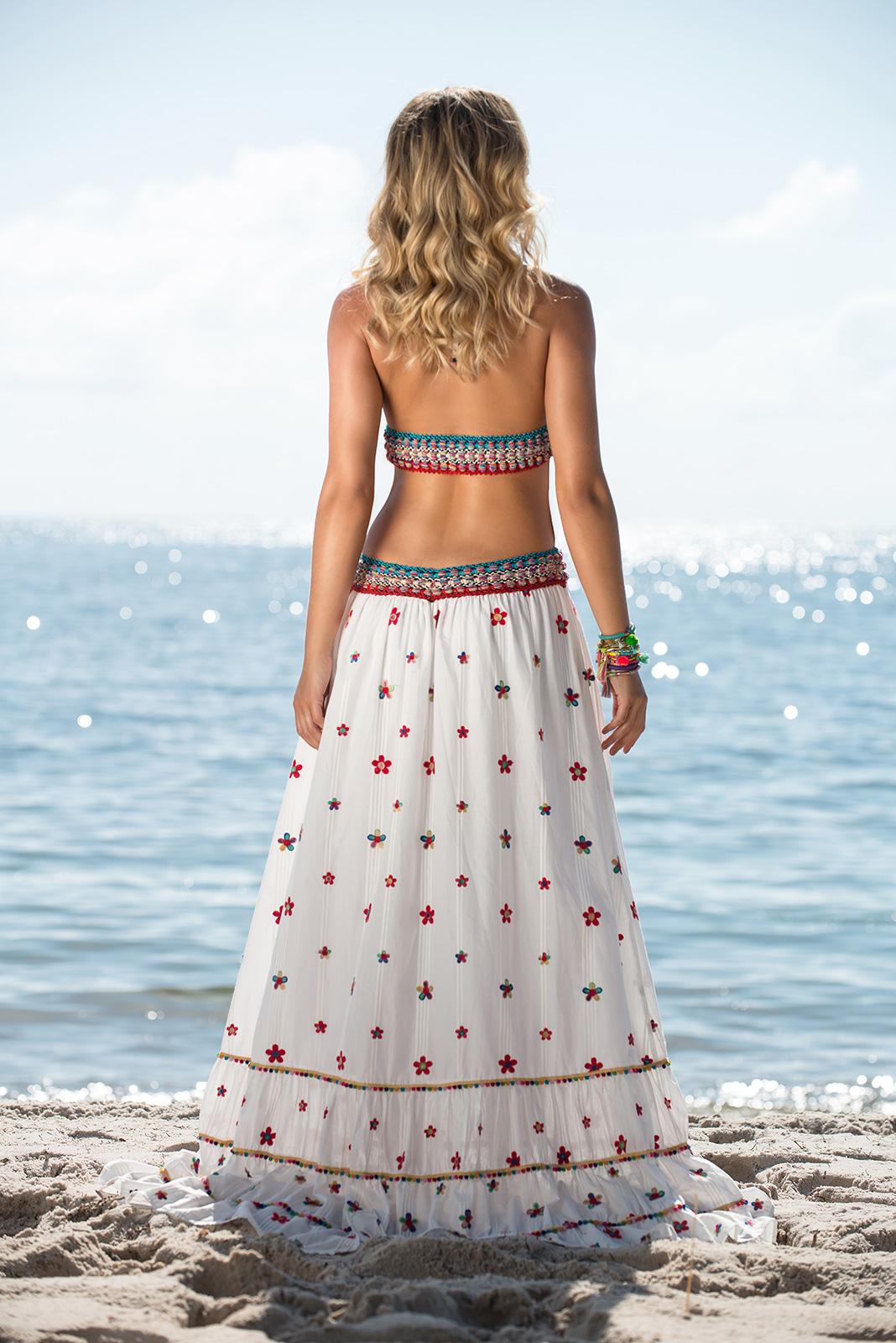 f25d8012a024 Long Flower-embroidered Boho-style Beach Dress - Daisy Long Dress ...