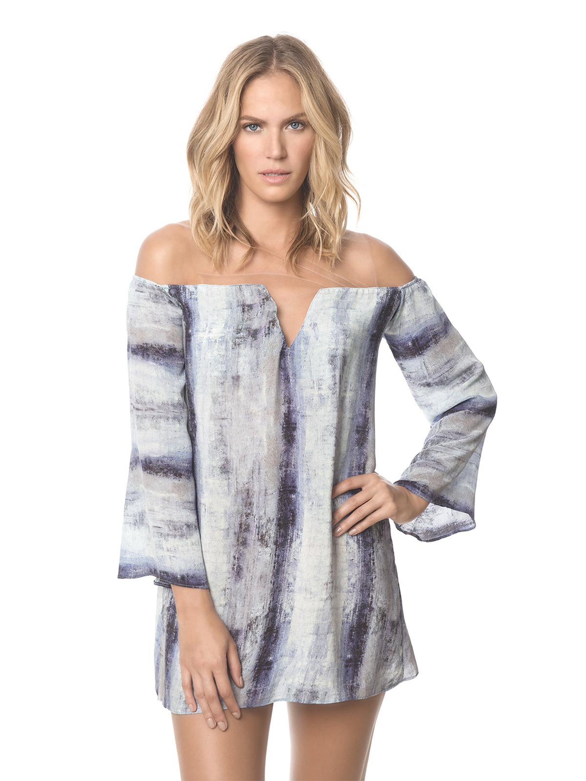 despi blue distressed beach dress with long sleeves