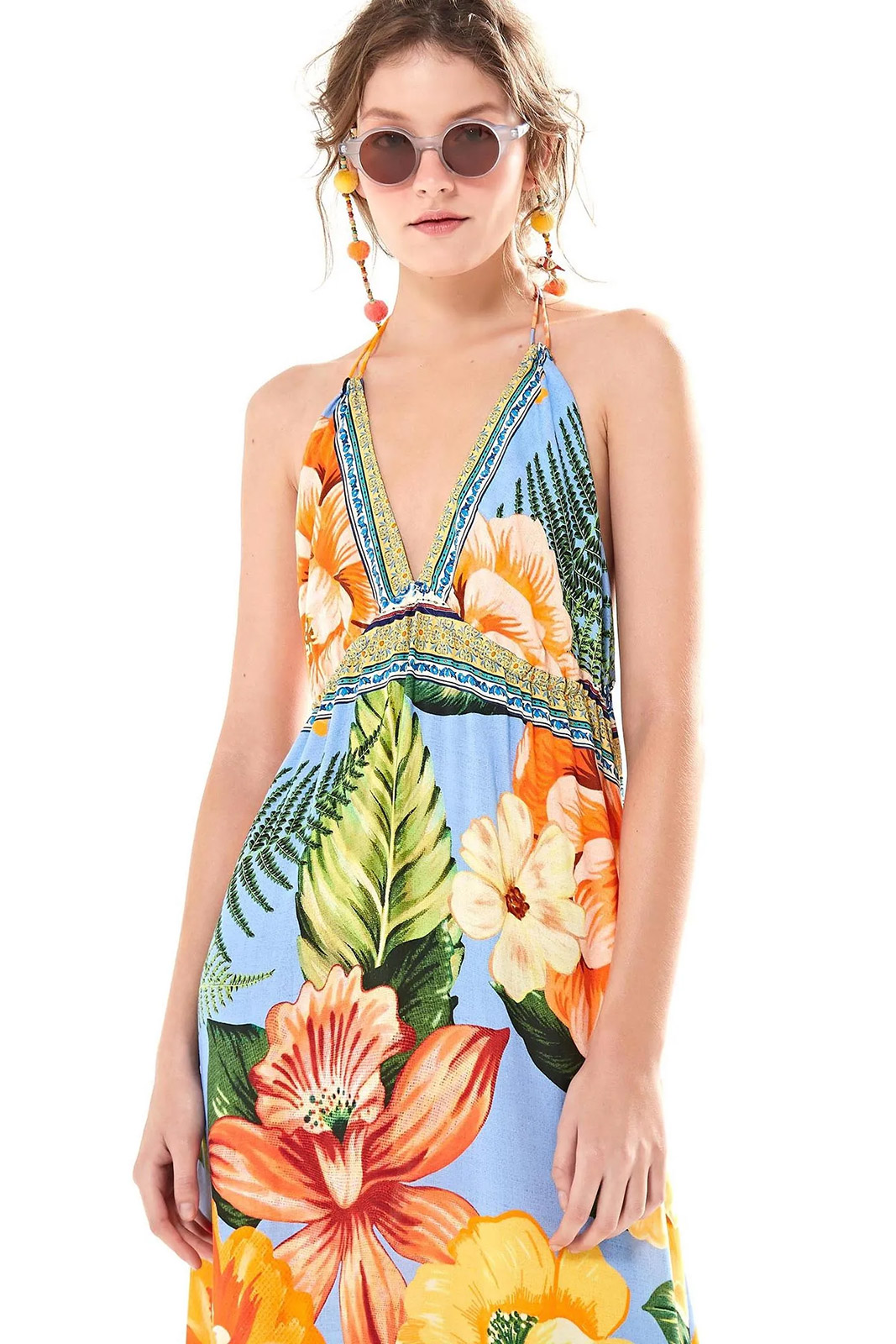 f8b33796a ... Long open back beach dress in colorful flowers - VESTIDO LONGO DESEJO  DE CHITA ...
