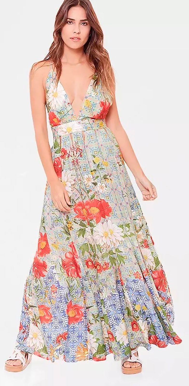 923c78ea24 Długa Sukienka Plażowa W Stylu Vintage - Vestido Longo La Havana - Farm