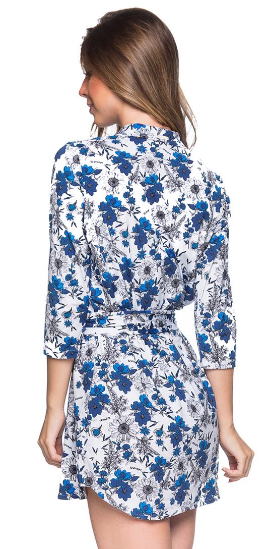 790ffa88651 ... Shirt beach dress with 3 4 sleeves - blue floral print - CHEMISE FAIXA  ATOBA