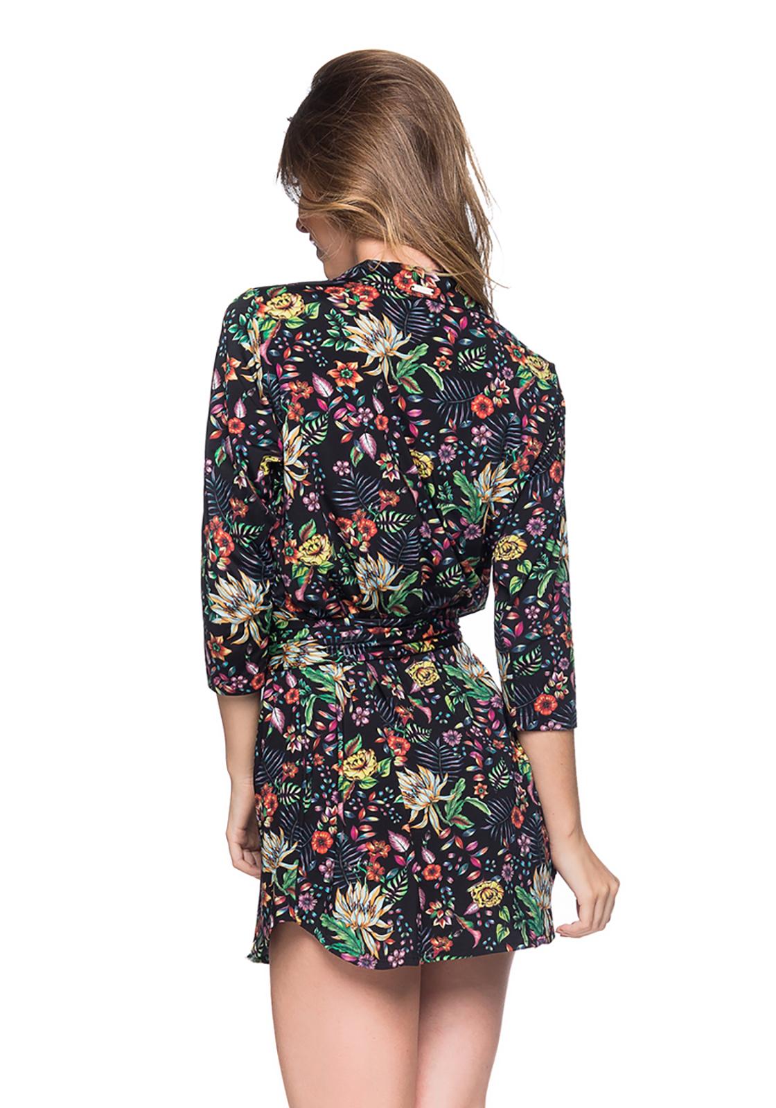 483072b8659 ... Shirt beach dress with 3 4 sleeves - black floral print - CHEMISE FAIXA  DREAM