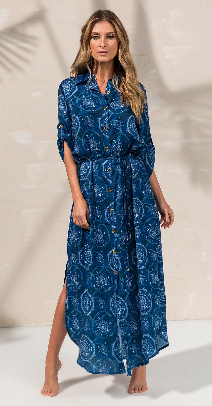 3565dd82b6ea Μακρύ φόρεμα με κουμπιά και εμπριμέ μοτίβα σε ναυτικό μπλε χρώμα ...